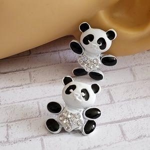 Moving Panda Crystal Accent Earrings